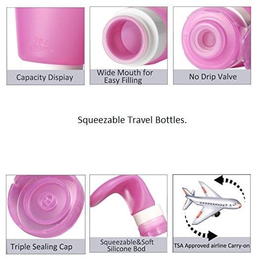 3 בקבוקי סיליקון לאחסון סבון בנסיעות