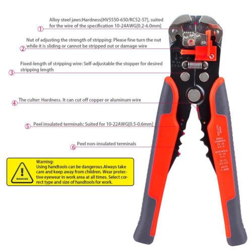 מכשיר מקצועי לחישוף וחיתוך חוטי חשמל וכבלים