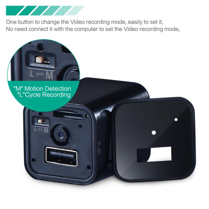 תקע הטענה USB עם מצלמה נסתרת HD