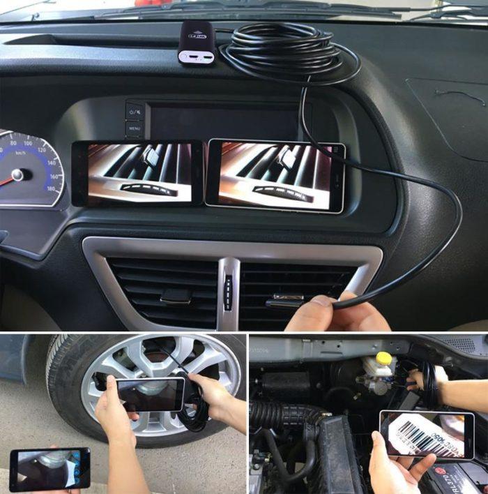 כבל מצלמת HD זעירה עם פנסי לד המתחבר לנייד
