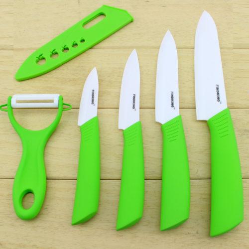 סט 4 סכינים קרמיות + כיסויים + קולפן איכותי מתנה