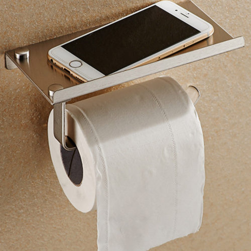 מחזיק נייר טואלט לשירותים עם מדף לפלאפון