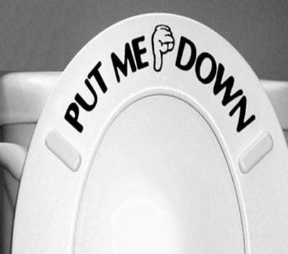 מדבקה קומית לשירותים - הורד את הקרש!