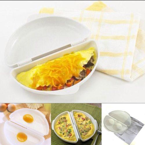 כלי להכנת חביתות ממולאות או פשוטות במיקרוגל ללא שמן