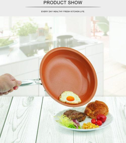 מחבת קרמית מונעת הידבקות אוכל ללא שמן