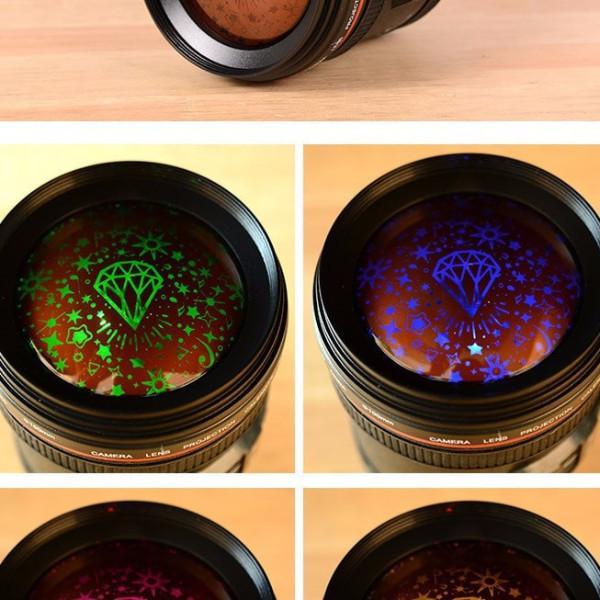 שעון מעורר + נורת כוכבים בצורת עדשת מצלמה