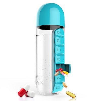 """בקבוק טיולים 600 מ""""ל משולב מקום לתרופות"""
