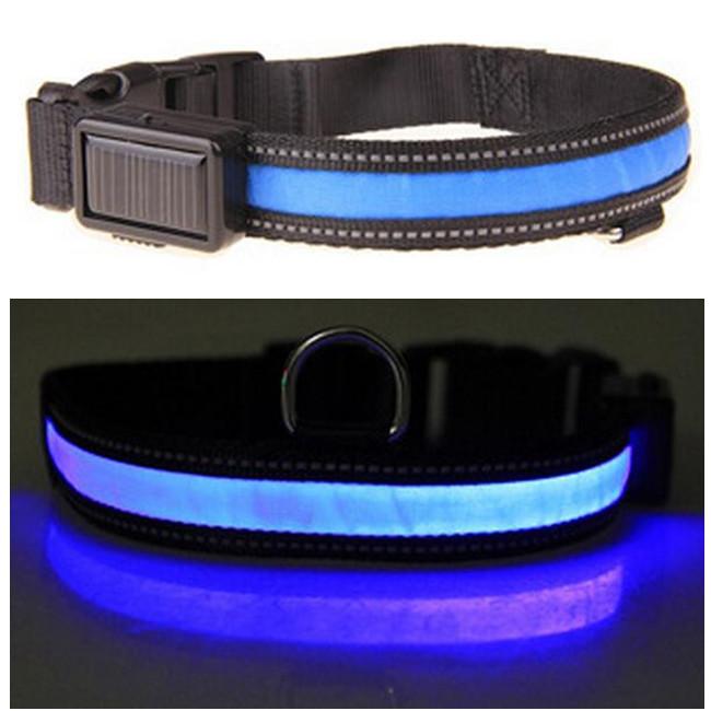 קולר נטען סולארית&USB עם תאורת LED
