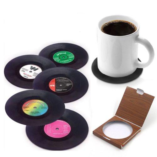סט תחתיות וינטאג' בצורת תקליט (6 יח')