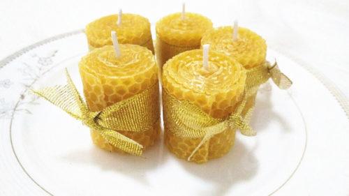 נרות שעוות דבורים טבעית בעבודת יד (סט של 18)