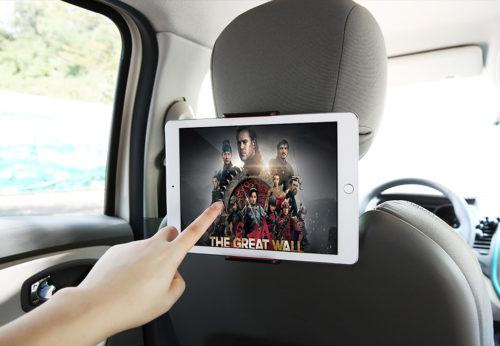 מעמד 360° לסמארטפון/טאבלט למשענת ברכב
