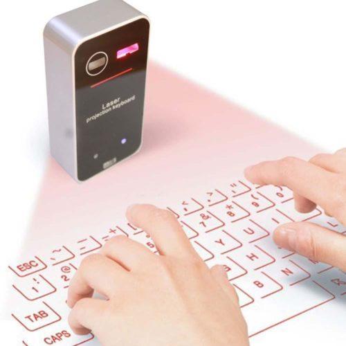 מקרן מקלדת ועכבר לייזר למחשב / סמארטפון / טאבלט באמצעות בלוטות'