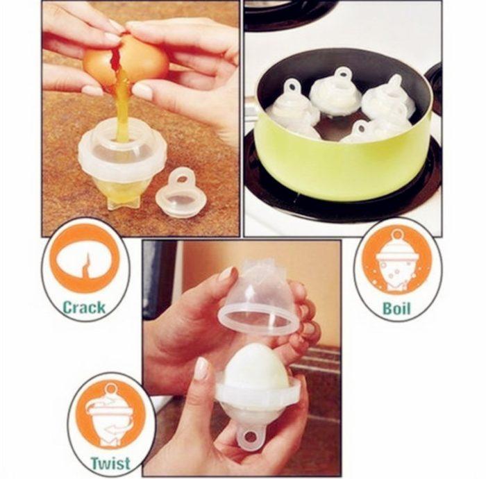 מבשלי ביצים ללא קליפה (סט 6 יחידות) + מפריד חלמון וחלבון מתנה