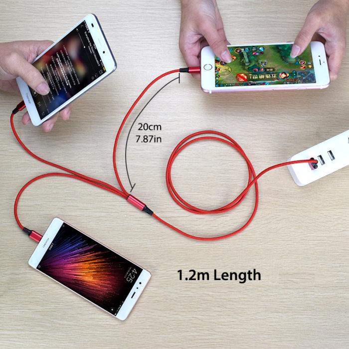 כבל טעינה אוניברסלי 3 ב-1 לאנדרואיד ואייפון