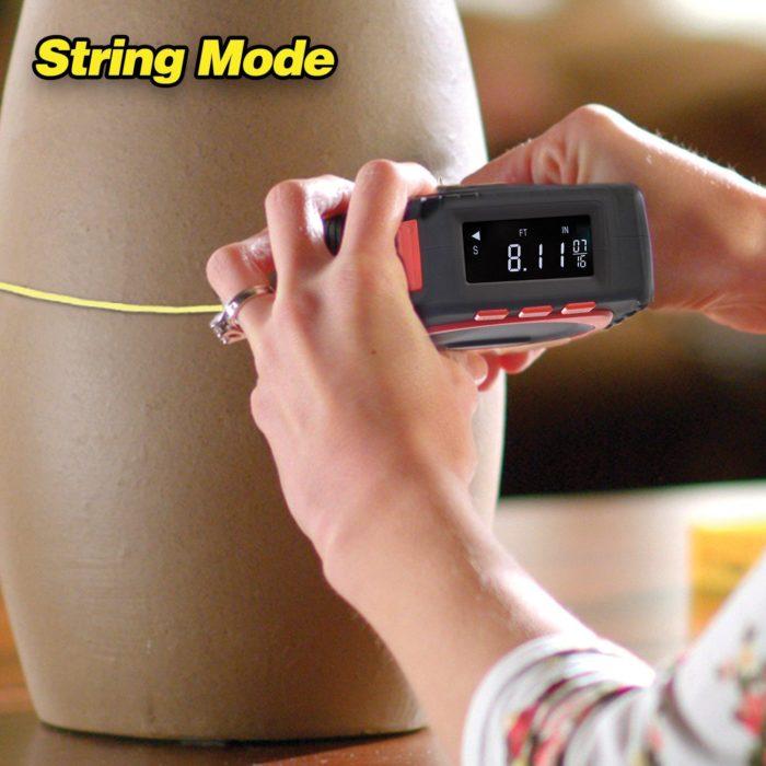 מטר מדידה מקצועי ומדויק עם 3 מצבים - חוט, לייזר ורולר