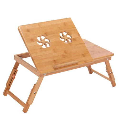 שולחן לפטופ מעץ במבוק