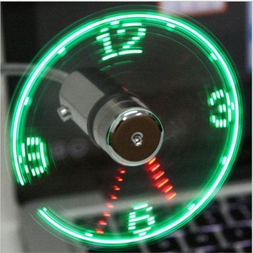 מאוורר USB עם שעון LED מובנה