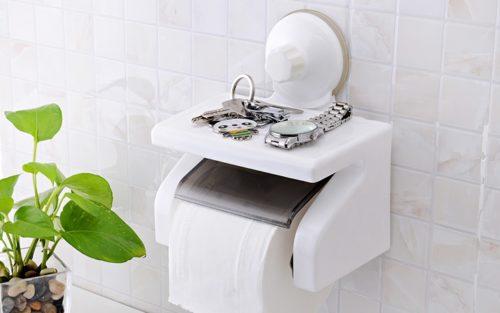 מחזיק נייר טואלט לשירותים עם מעמד לחפצים