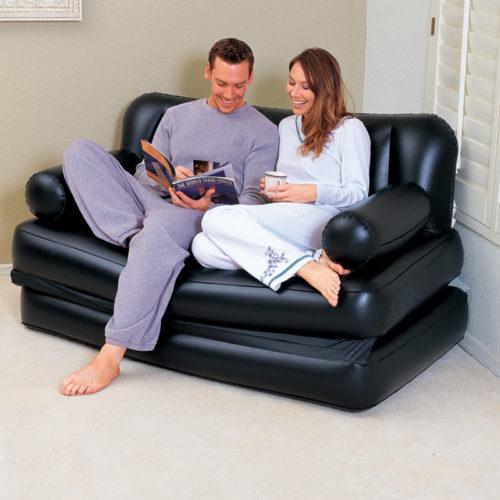 ספה זוגית מתנפחת ההופכת גם למזרן זוגי עם משאבת אוויר