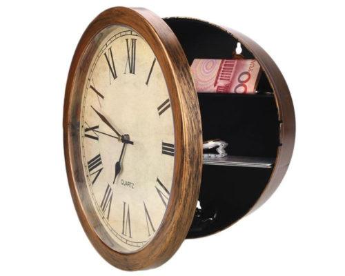 שעון קיר דקורטיבי עם כספת בלתי נראית לתכשיטים וכסף