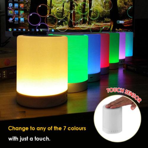 רמקול בלוטות' עם נורת לילה מובנית ב-7 צבעים מתחלפים