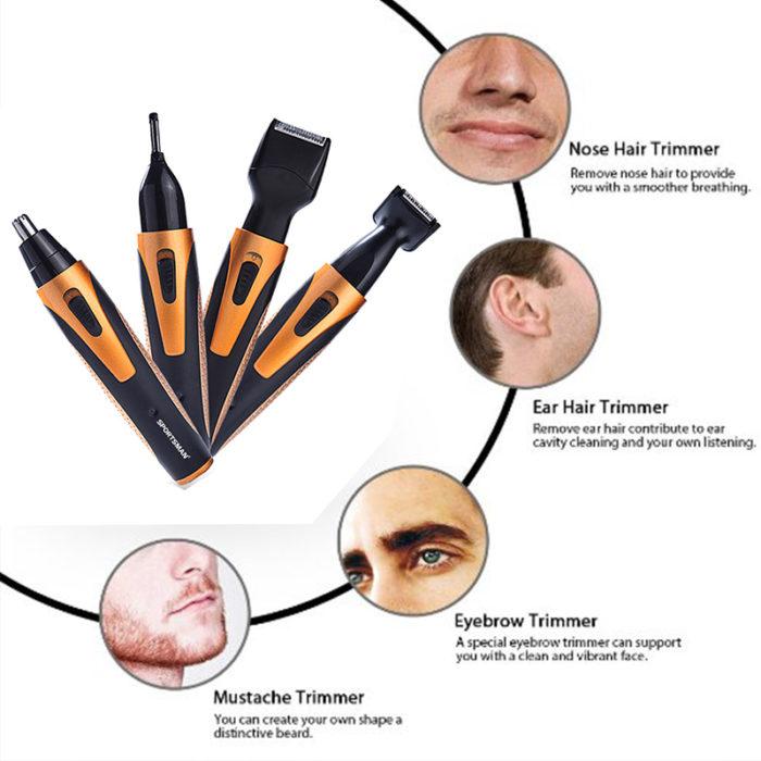 מסיר שיער לאף עם 4 ראשי גילוח מתחלפים לשאר איזורי הגוף