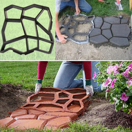 תבנית לייצור לבנים בצורות לשביל בחצר