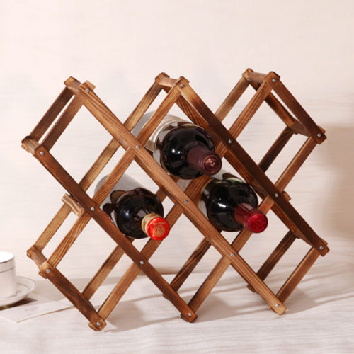 מדף בקבוקי יינות דקוראטיבי מעץ