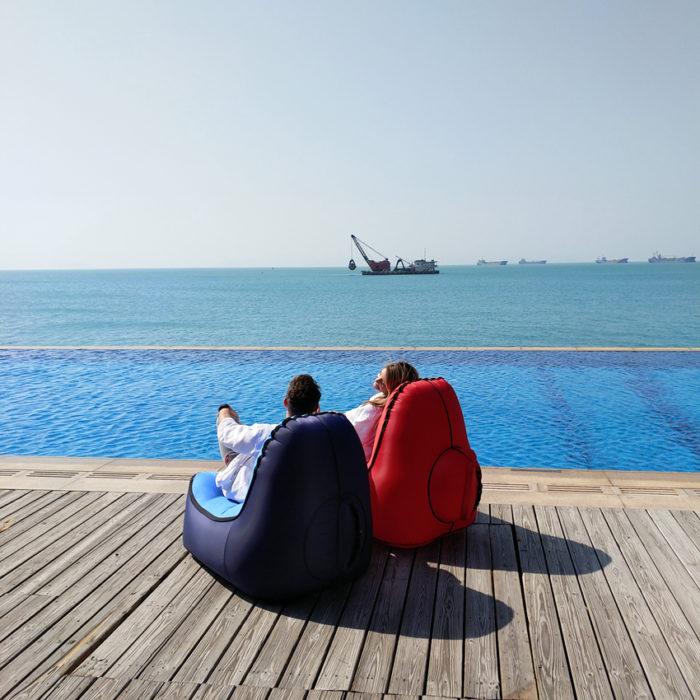 כיסא פוף מתנפח ברגע לים ולקמפינג