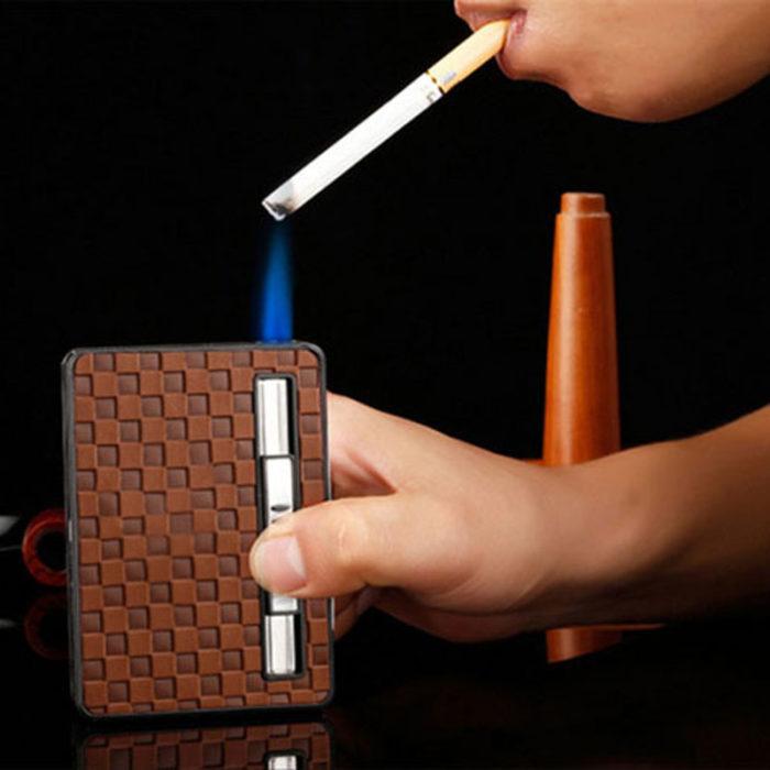 חפיסת עור איכותית לאחסון 10 סיגריות עם מצית מובנית