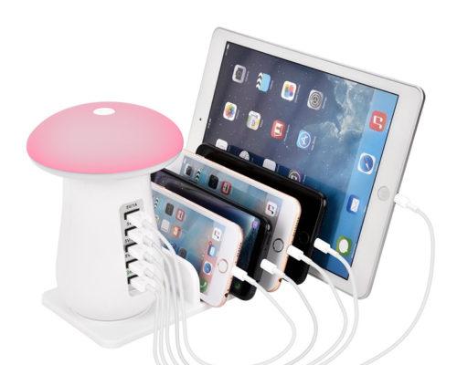 מנורת לילה עם 5 יציאות USB ומקומות להטענה