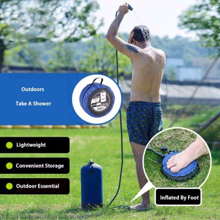 מקלחת קמפינג מתקפלת 11 ליטר עם משאבת אוויר מובנית ללחץ מים