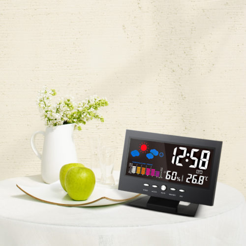 שעון דיגיטלי עם מסך לד המפרט מזג אוויר,תאריך ועוד