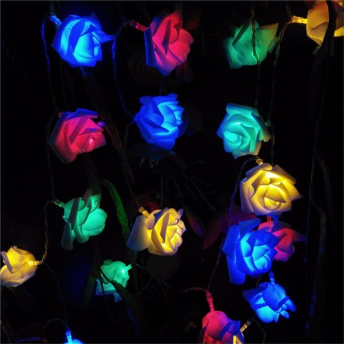 10 ורדים עם תאורת לד