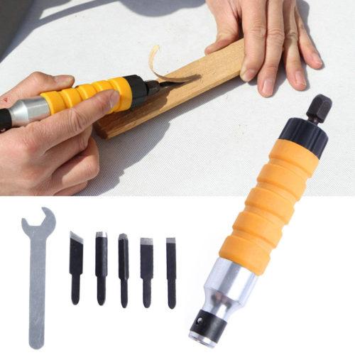 מכשיר חשמלי לגילוף בעץ עם 5 ראשים שונים
