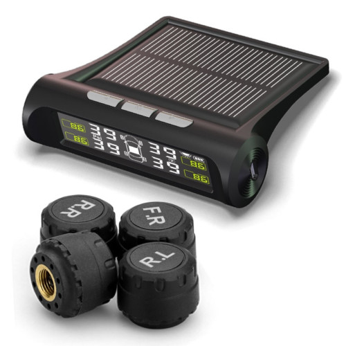 מערכת סולארית המציגה את לחץ האוויר בגלגלי הרכב