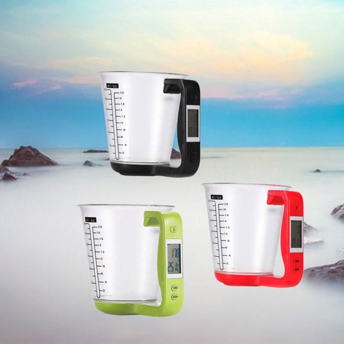 """כוס דיגיטלית למדידת מ""""ל, משקל וטמפרטורה"""