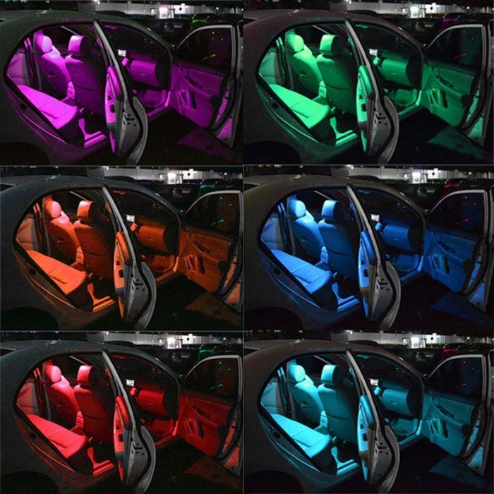 4 פנסים מחליפים צבעים עם שלט לרכב