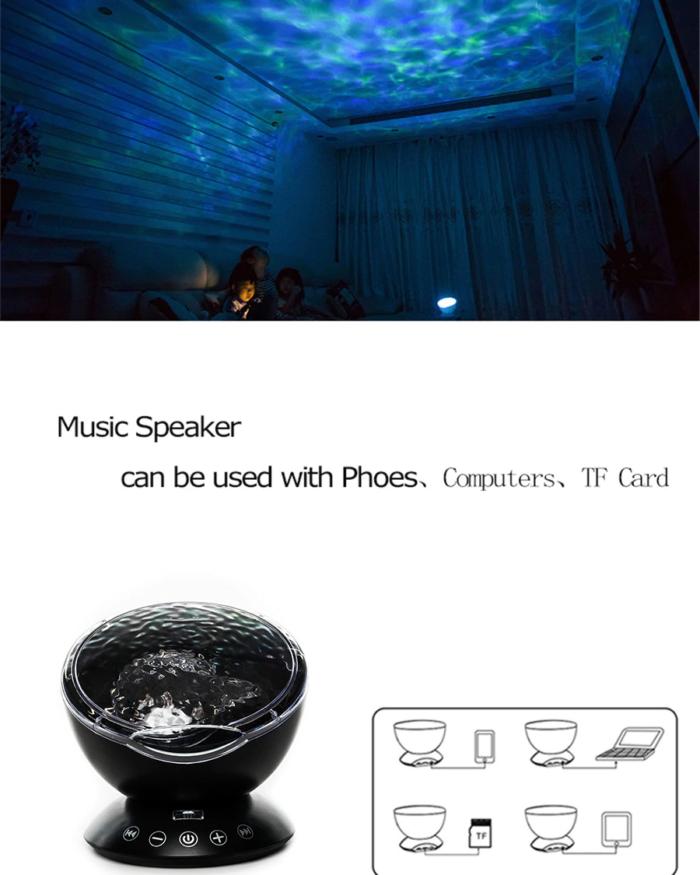 רמקול עם פרוז'קטור להקרנת אור בצורת אוקיינוס