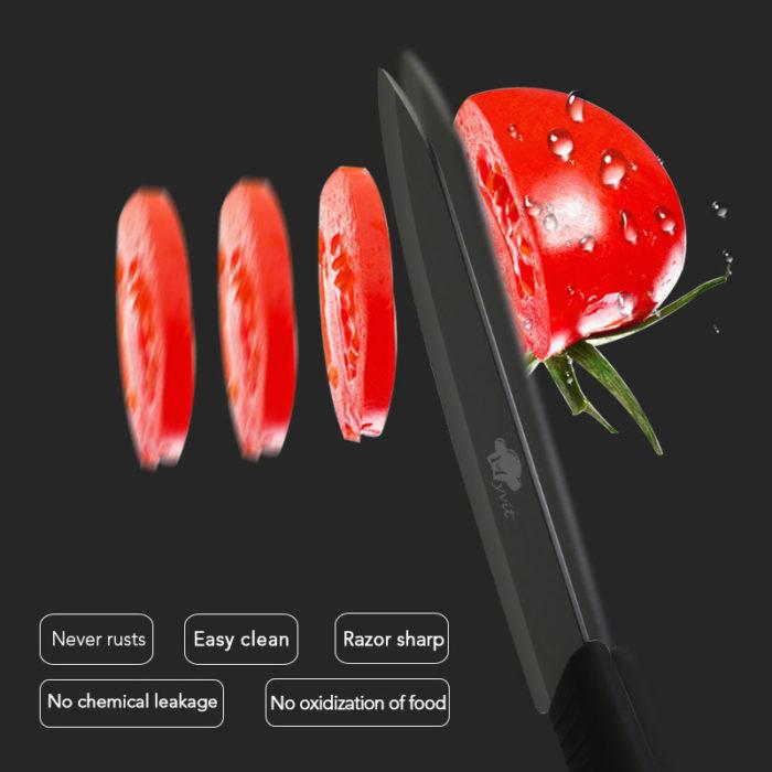 סט 4 סכינים קרמיות למטבח עם מחזיק וקולפן במתנה