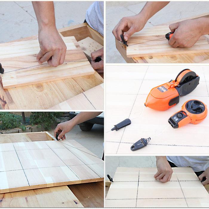 כלי לסימון קווים ישרים על משטחים לפני חיתוך באמצעות דיו