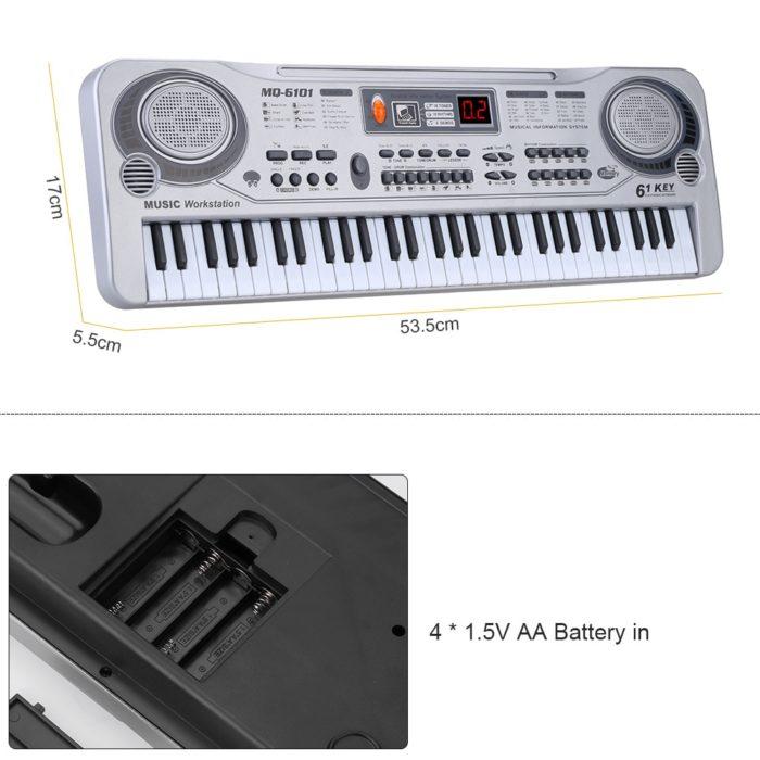 מקלדת אלקטרונית 61 תווים עם מיקרופון