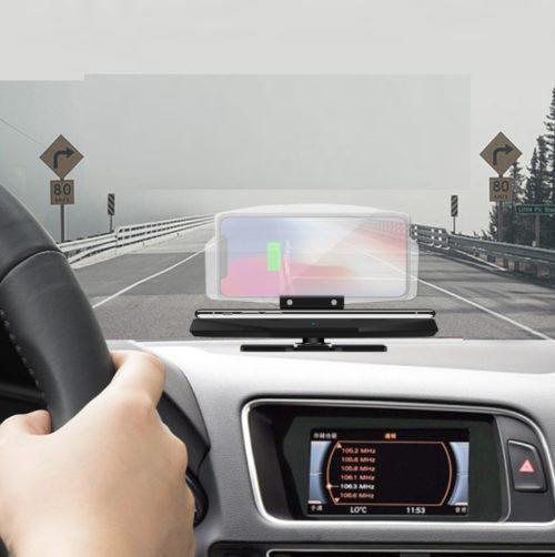 מחזיק טלפון לרכב עם צג מראה ל-GPS ומטען מגנטי מובנה
