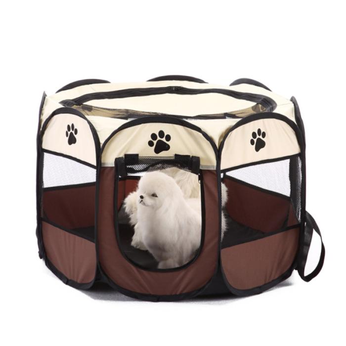צילייה ניידת לכלבים עם פתח כניסה ויציאה ורשתות לכניסת אוויר