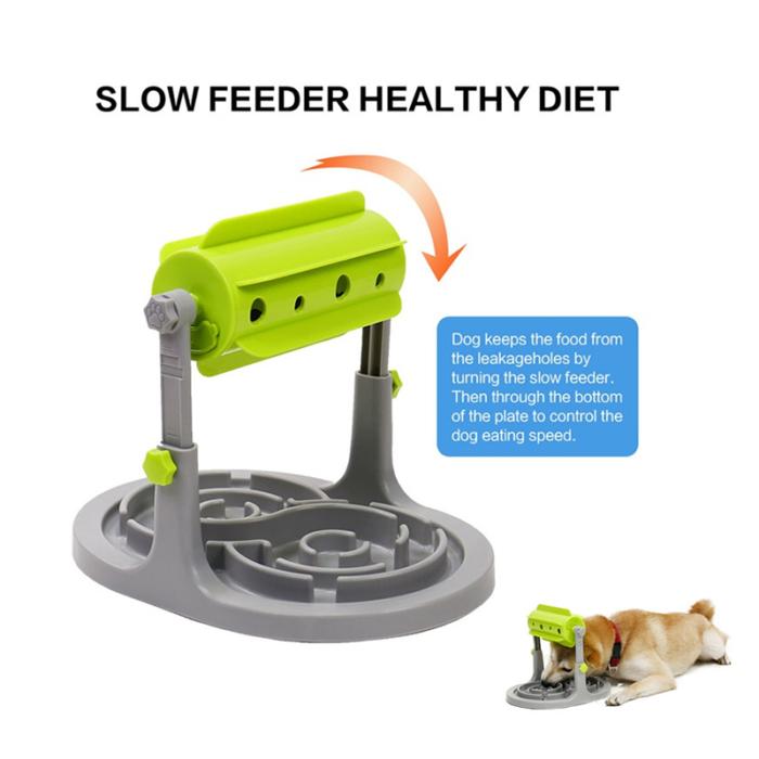 עמדת האכלת כלבים בצורה איטית ובריאה עם גלגל אימון משחק מובנה לשחרור האוכל