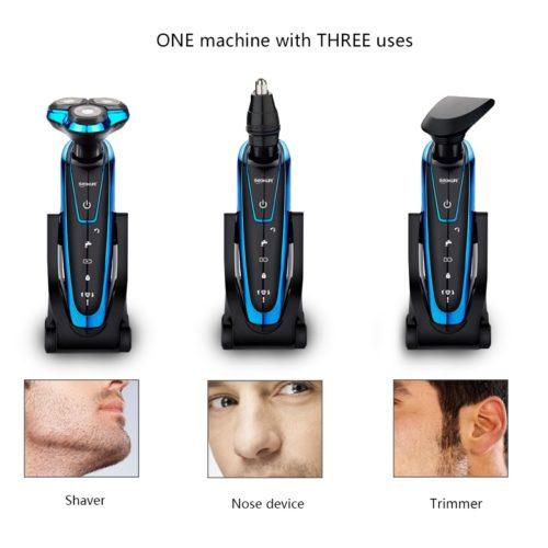 מכונת גילוח מקצועית נטענת עם 3 ראשים מתחלפים לשיער זקן,אף ופיאות