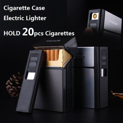 קופסת סיגריות קשיחה עם מצית נטענת מובנית