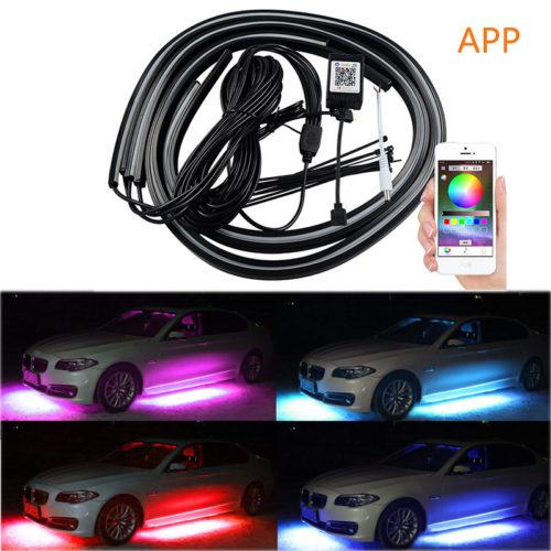תאורת לד מתחת לרכב במגוון צבעים הנשלטת באמצעות אפליקציה