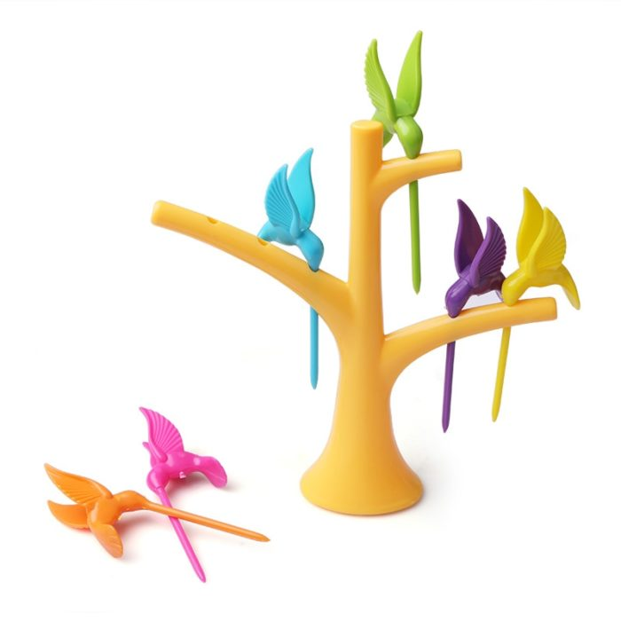 סט 6 מזלגות לפירות בצורת ציפורים עם עץ