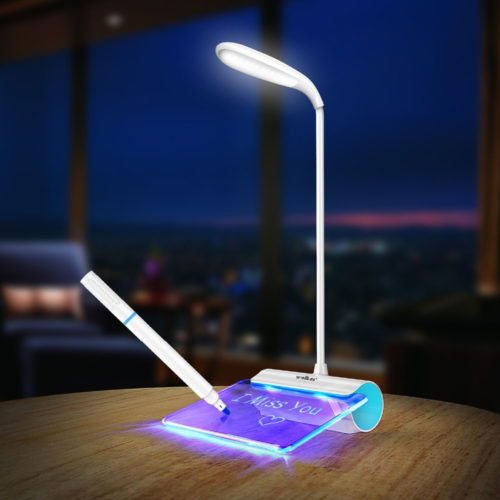 מנורת לילה עם משטח זכוכית לכתיבת תזכורות זוהרות